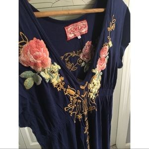 Johnny Was midi length embroidered dress